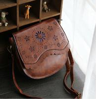 2014 New Fashion PU leather Retro Women Messenger bag ladies hollow out Handbag,cross body bag+free shipping JF6306