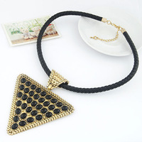 New 2013 Big Neclace For Women Unique Vintage Temperament Knitted Leather Rope Triangle Necklace Statement Clubwear