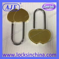 Free shipping for 1pc 60mm big heart pad lock with Double Heart with laser logo