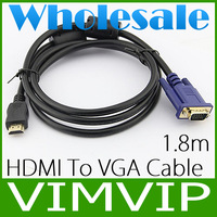 20Pcs/Lot 1.8M Gold HDMI Male to VGA Male HD-15 Male Cable Adapter Converter 6ft 6 feet Gold plated 1080P+Wholesale