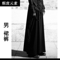 Goths autumn male culottes black novelty personality punk full dress  rock dance jazz hiphop