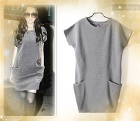 2013 Euramerican style large size M-XXXL spring autumn and winter fashion loose one-piece dress,freeshipping
