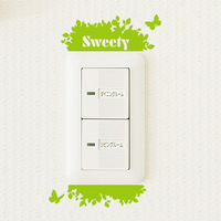 free shipping New arrival brief corner wall stickers switch stickers leaves green shb332