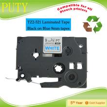 20pcs packing TZ2-521 1/2 In. Black on blue P-Touch Label Tape, TZe-521tz labels