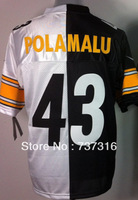 Cheap Sale,#43 Troy Polamalu White Black Split men's American Football Jerseys free shipping accept mix order Size M-3XL