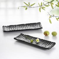 Black porcelain scrub long plate japanese style sushi quality mug-up fish plate plastic platter