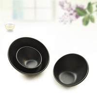 Fashion black porcelain muleshoe bowl plastic tableware salad fruit rice bowl