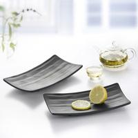 Porcelain black scrub rectangular plate quality japanese style sushi mug-up cake pan plastic plate