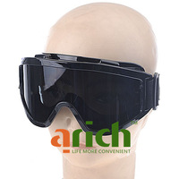 Sporty Anti-Impact Snowboard Goggles Eyeglasses Glasses Eyewear with Silver Lens Black Frame for Skiing Racing