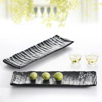 Stripe melamine oblong tray quality black porcelain sushi cabob plate