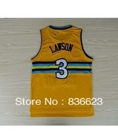 Free shipping - New Material #3 Ty Lawson Yellow Men's Basketball Jersey Embroidery logos size: S-XXXL