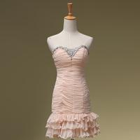 Sexy  Party Prom Dress Powder short design dress one-piece dress bride evening dress