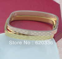 Minorder $25(mix order) 18k gold platedFancy letter with chain square bangle bracelet /fashion Gu bracelet jewelry free shipping