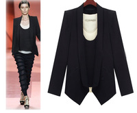 2013 Women Winter Blazers Black Plus Size Notched Collar Cotton Full Sleeve  Fashion Casual Blazers for Women AWH-00029