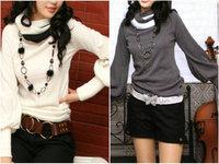New autumn  winter high collar lantern sleeve sweater, bottoming shirt collar color cotton Long sleeve Pullover women's K025