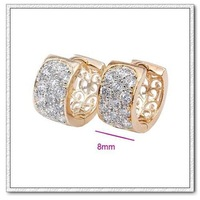 (E18K-33) 18K Gold Plated Sparkle CZ Stone Hoop Huggie Earrings Vintage Jewelry, Free shipping
