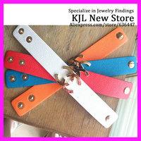 16pcs Soft Leather Bracelet, wrap Double claps adjust Bracelets, Metal Sideways Leather C Word bracelet