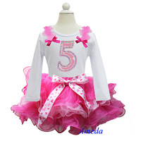 Hot Light Pink Petal Pettiskirt with Bling Number 5 Whtie Long Sleeves Top 1-7Y