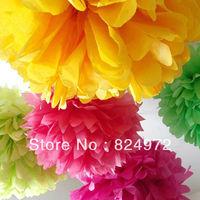 free shipping Wholesale DIY round paper lanterns 30cm (12 inch) Tissue paper flowers Craft Paper Flower pom poms Decoration