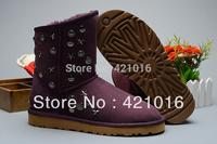 2013 Fur Inside Women Winter  Rivet Snow Boots Australia Sheepskin Snow Boots Authentic Quality High Quaity 5829#