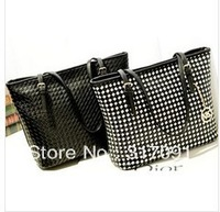 2013 women's spring Solid Black plaid Women Big handbag Fashion Casual Single-shoulder bag