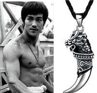 New Arrival Fashion Men's Jewelry Titanium Steel Dragon Head Wolf's Fang Design Mens Leather Choker Necklace Wholesale 5pcs/lot