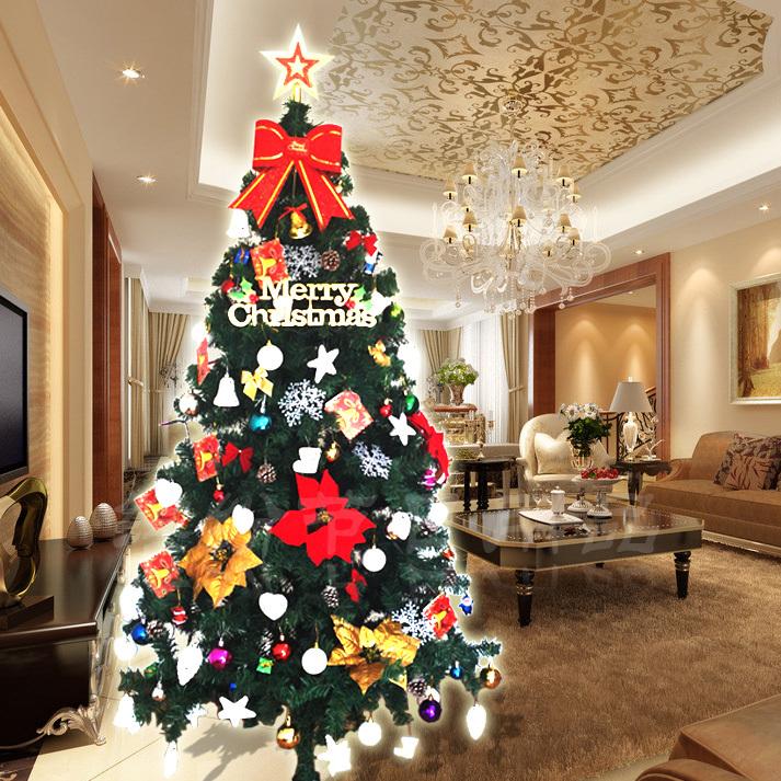 Big hat 190 luxury christmas tree bundle 1.8 meters christmas tree set(China (Mainland))
