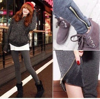 B205 autumn and winter thickening plus velvet legging side zipper ankle length trousers skinny pants