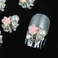 c171 100pcs/lot 12*11mm pink rose and artificial ivory white pearl 3D Nail Art Salon  Tips Cellphone Craft DIY Design Decoration