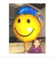 10pcs/lots wholesales Big size Graduation balloon , Aluminum foil balloon ,smiling face doctorial hat styles