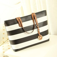 free shipping high quality 2013 women's handbag fashion navy style stripe  big shoulder bag High-capacity leather tote bag