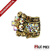 Free Shipping Mix Color Wholesale New Fashion Shiny Colorful Rhinestone Statement Charms Rings SR017