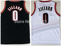 Free shipping - New Material #0 Damian Lillard Men's Basketball Jersey Embroidery logos size: S-XXXL