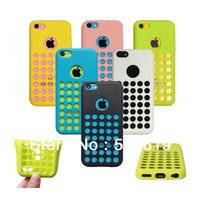 Official Style Rouch Hole Soft TPU Gel Rubber Skin Cover Cases For iPhone 5C iPhone5C 6 Colors 30pcs/l Freeship