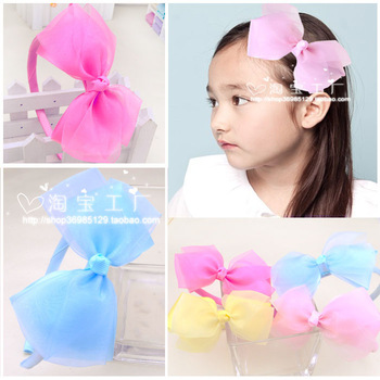 Double layer rgxzr yarn ribbon cutout child hair bands