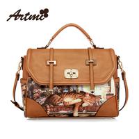 Artmi2013 cat vintage print cartoon women's handbag messenger bag
