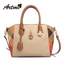 Artmi2014 handbag smiley women's patchwork fashion handbag color block messenger bag