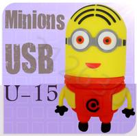 Hot sale U15 Despicable Me 2 Minions Cartoon U Disk 256MB 4GB 8GB 16GB 32GB 64GB USB 2.0 Flash Memory Stick Gift USB Flash Drive
