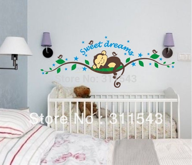 Free shipping Cute Monkey sweet Dream decals,Removable vinyl wall sticker decors ,kids Room decorative wallpaper wholesale k002(China (Mainland))