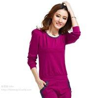 100% cotton sportswear set female slim o-neck long-sleeve bow casual sweatshirt set