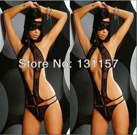 Women Sexy Lingerie Black Lace One-piece Bare Back Televised Bosom Dress Boudoir Intimate Sexy Sleepwear For Nightwear& Sex Game