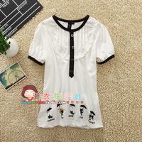 2013 a02 summer women's puff sleeve school wear short-sleeve T-shirt basic shirt
