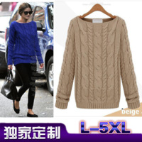 2013 fashion plus size clothing plus size mm basic shirt sweater fashion twist blending sweater