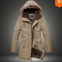 Fashion Hot2014 Men's Cloth Fur Hooded Winter Long Coat Mens Outerwear Warm Thickening Fleece Jackets Cotton overcoat Asia S-XXL