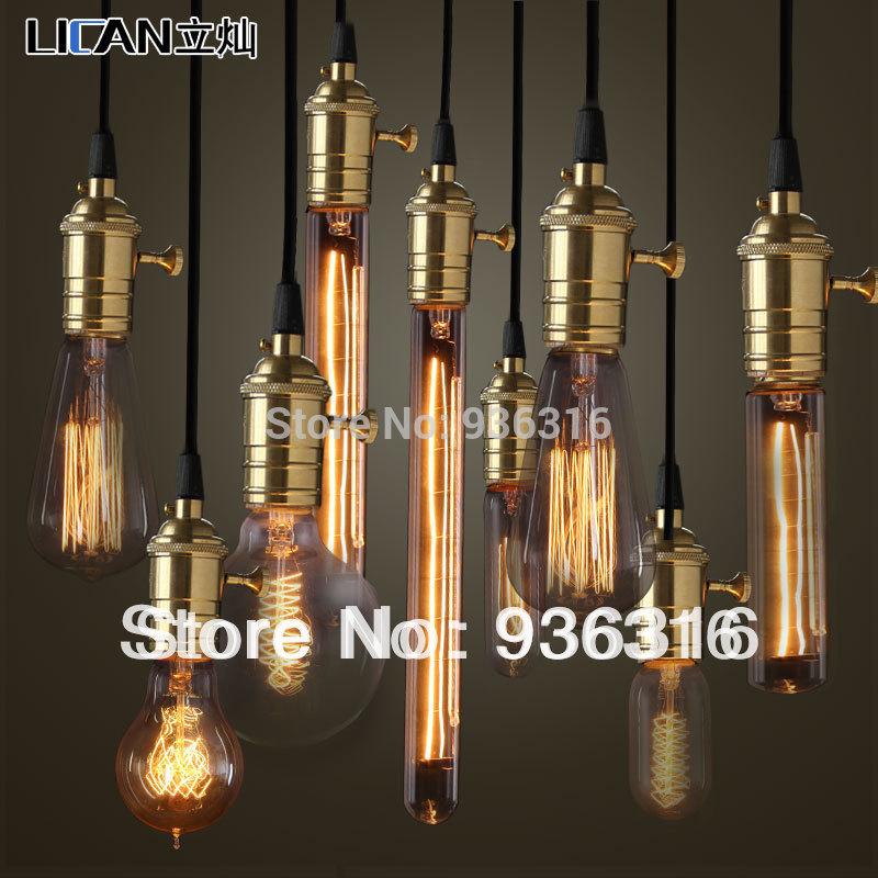 Pendant Light Bulb Type : Free shipping e v w copper lamp holder pendant