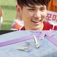 Star accessories shinee key silver saws stud earring earrings