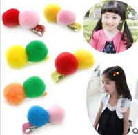 new 2013 Min $10 children hair accessories Hot-selling fur ball child clip bb clips duckbill clip girls hairpin Free shipping