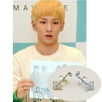 Star accessories shinee key gold and silver color key ring adjustable size measurement
