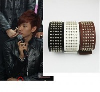 Accessories super junior nails leather strap hand ring bracelet