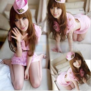 Sexy pink racerback ds costume stewardess loading the female police uniform(China (Mainland))